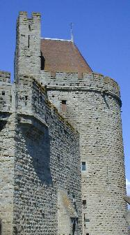 One of the huge towers of living quarters in the fortified Cité of Carcassonne